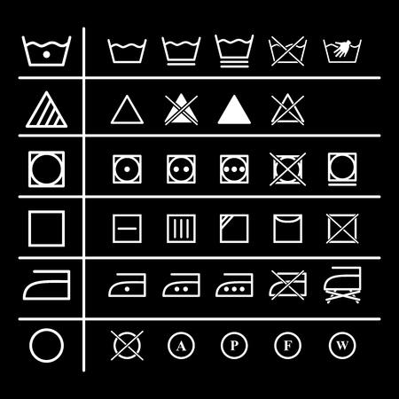 Set of laundry instruction icons on the black background Stock Illustratie