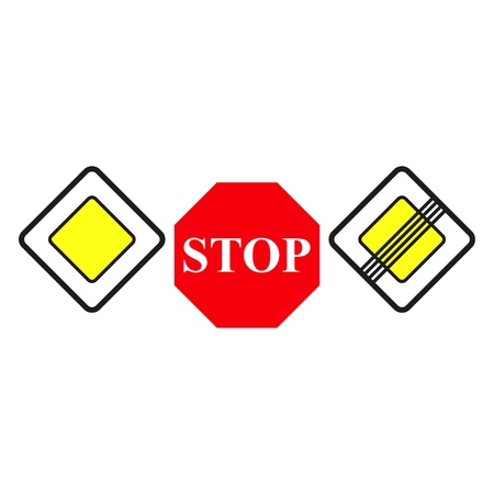 Set main road signs icons the stop on the white background