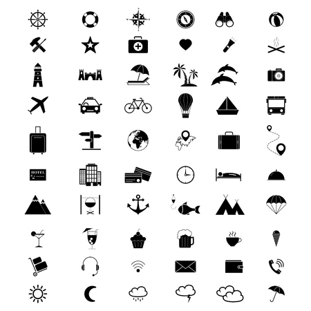 Set of holiday vacation travel 60 icons on the white background