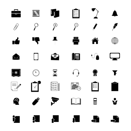 Set of office 48 icons on the white background