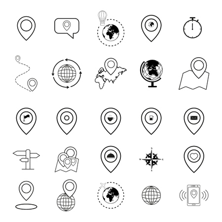 Set of map icons of pin pointer Illustration
