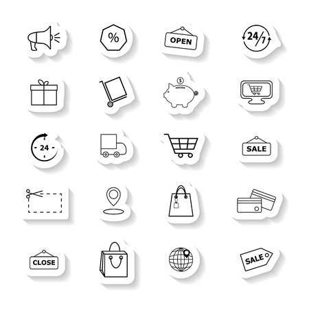 Set of Retail trade icons the stickers
