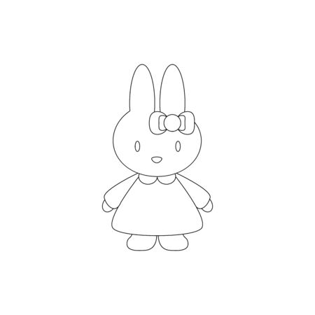 A rabbit toy icon for baby gift on white background