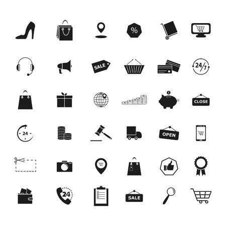 Set of Retail shop market trade icons Ilustração