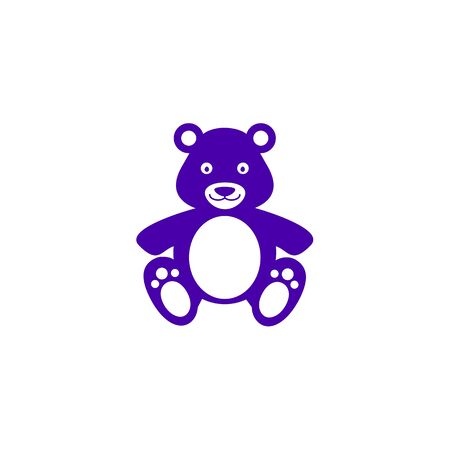 Bear teddy toy icon in blue color