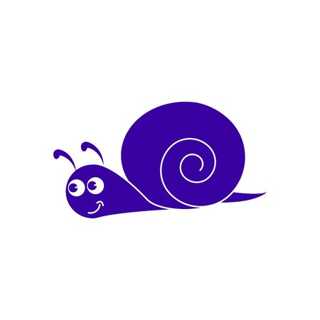 A snail, a cochlea,a helix of icon blue Illustration