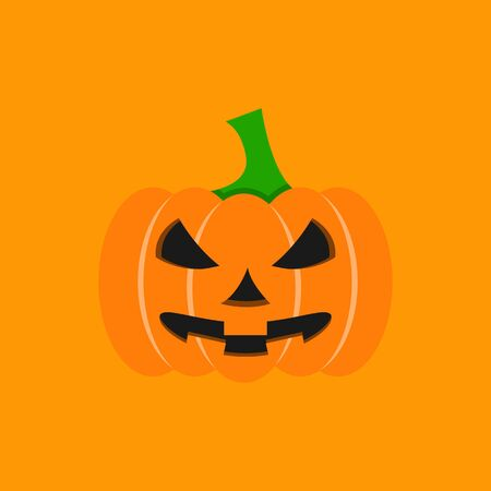 Pumpkin of icon Halloween color the evil on orrange background