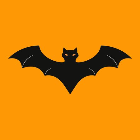 Bat of icon halloween on the orrange background Imagens - 131966891