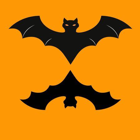 Bat of icon halloween on the orrange background Imagens - 131967493