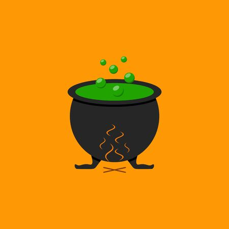 Witches boiler of the icon of halloween on the orrange background Ilustração