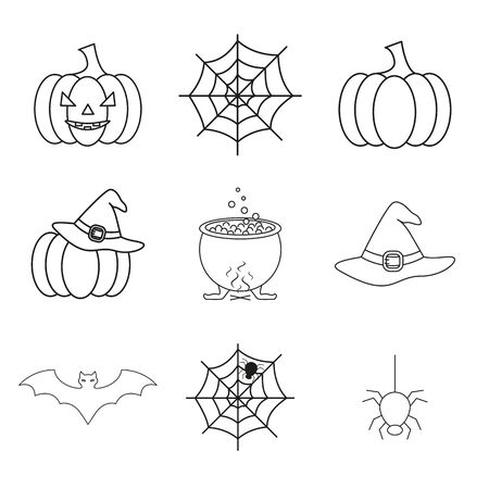 Set of Halloween of the set icons on the white background
