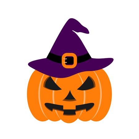 Pumpkin of icon Halloween color the evil on the white background Illustration