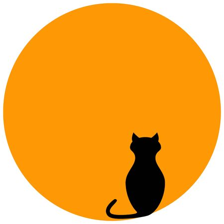 Cat in front of orange moon icons