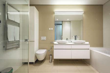Interior of stylish bathroom with toilet bowl