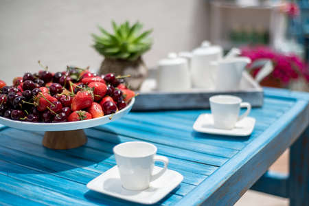 Breakfast served with fruit plate and tea set