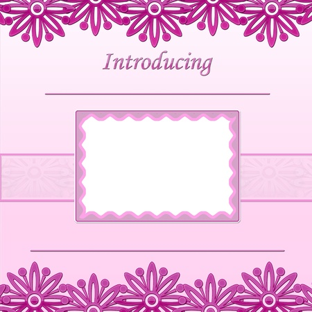 Baby Girl scrapbook page - Birth Announcement - Introducing photo