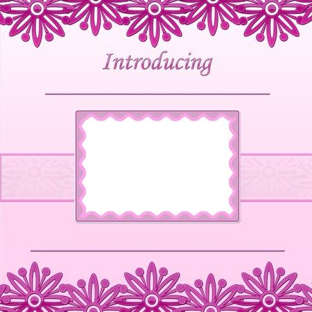 Page B�b� album Girl - Annonce de naissance - Pr�sentation Banque d'images