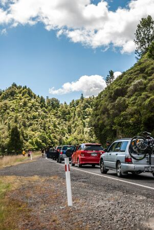 North Island, New Zealand: February 15, 2015: Car crash traffic in North Island, New Zealand.