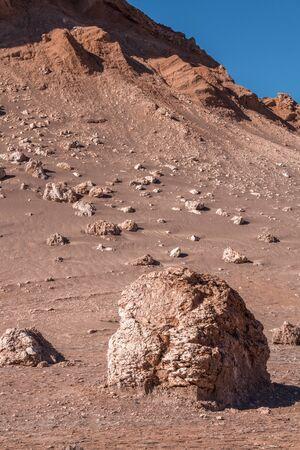 칠레 아타 카마 사막의 문 밸리 바위 스톡 콘텐츠