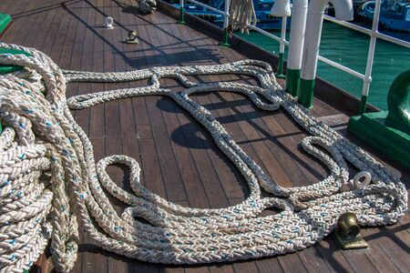 Close-up of a nautical mooring rope