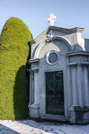 Punta Arenas, Chile - May 23, 2012: Tombs and graves at a cemetery in Punta Arenas, Chile.