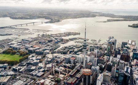 Auckland, New Zealand - May 24, 2017:  Panoramic aerial view of the Auckland city downtown Editorial