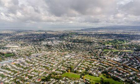 オークランド市、ニュージーランドの空撮 写真素材