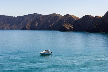 Wild landscape, shot from the top deck of a ferry, travelling from Wellington to Picton, New Zealand.