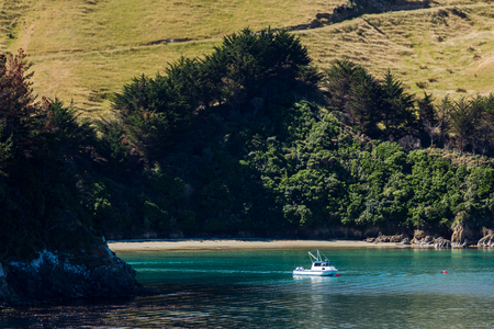 Shot from the top deck of a ferry, travelling from Wellington to Picton, New Zealand. Stock Photo