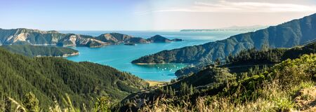 Queen Charlotte Sound in New Zealand Stock Photo