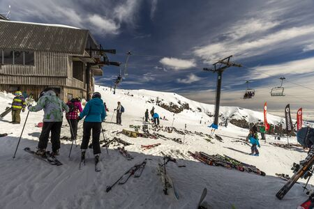 Whakapapa, New Zealand - August 13, 2018: Chairlift operating on Whakapapa Skifield, New Zealand