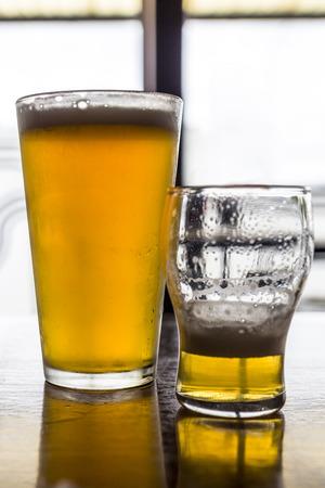 Glasses of light beer