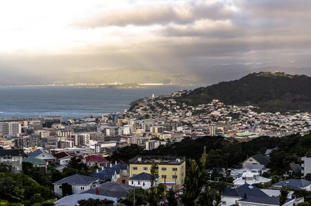 Sunset over Wellington, New Zealand Stock Photo