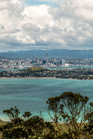 Landscape of Auckland city from Rangitoto Island, New Zealand.