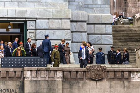 Wellington, New Zealand - October 28, 2018: The Duke and Duchess of Sussex exit the Wellington War Memorial in New Zealand.