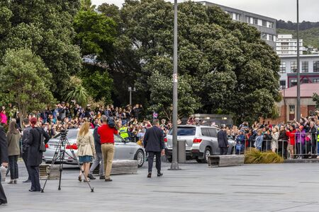 Wellington, New Zealand - October 28, 2018: The Duke and Duchess of Sussex departing the Wellington War Memorial in New Zealand. Editoriali