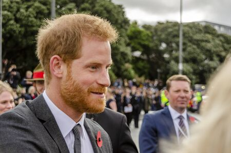 Wellington, New Zealand - October 28, 2018: The Duke of Sussex chat with members of the crowd at the Wellington War Memorial in New Zealand.