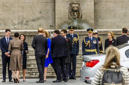 Wellington, New Zealand - October 28, 2018: The Duke and Duchess of Sussex arrive for a royal visit to the Wellington War Memorial in New Zealand.