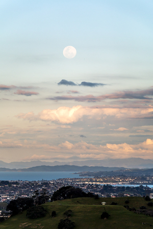 Full moon rising over Auckland, New Zealand
