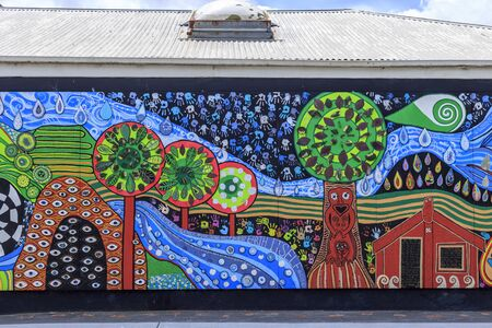 Kawakawa, New Zealand - December 29, 2018: Building in Kawakawa inspired by famous Austrian architect Hundertwasser. It's the only structure he ever built in the southern hemisphere, New Zealand. Editorial