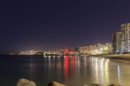 View of Muelle Vergara at night in Viña del Mar, Chile