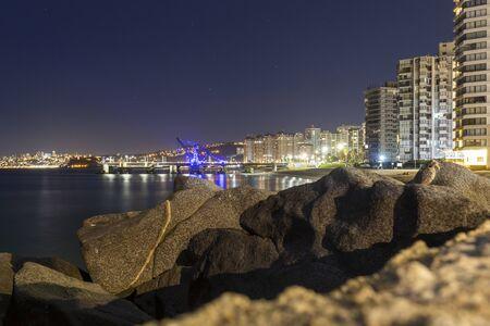Viña del Mar, Chile - August 11, 2019: View of Muelle Vergara at night in Viña del Mar, Chile