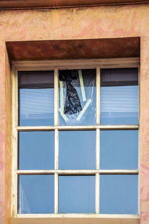 Close up of a broken window Stockfoto