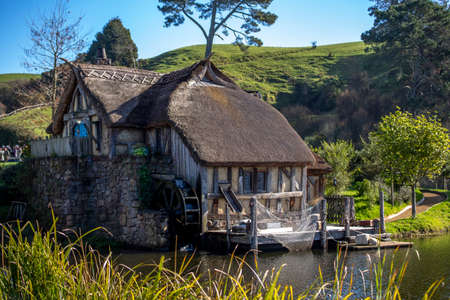 Matamata, New Zealand - June 07, 2017: Hobbiton, a movie set created for the filming of the Lord of the Rings and The Hobbit movies.
