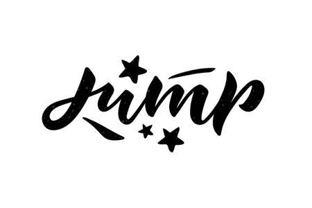 Vector illustration of Jump text. Trampoline park concept. Stock Illustratie
