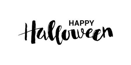 Vector illustration of Happy Halloween phrase with web. Illusztráció