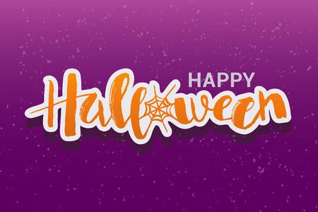 Vector illustration of Happy Halloween phrase with web. Lettering for card, invitation, poster, banner.