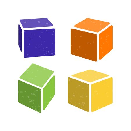 Set of three dimensional soft foam rubber blocks. 3d model of a cube. Trampoline, amusement park concept. Illustration