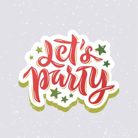 Lets Party text with stars for card, invitation, poster, banner. Lettering for Christmas party, winter festival. EPS 10 Ilustrace