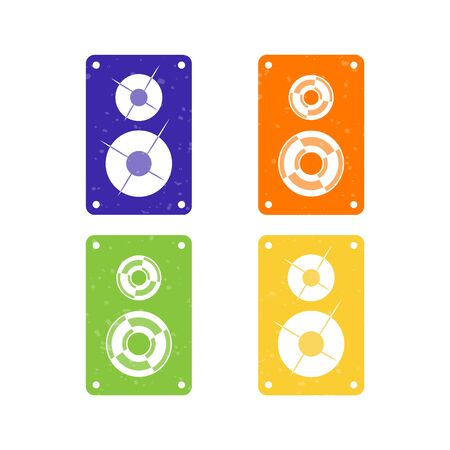 Sound speaker icon set. Music sound box sign, symbol for club party, amusement park, discotheque.